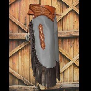 Custom 2019 Gray Cowboy Cowgirl Fringe Chinks NWT